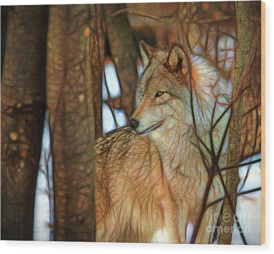 Timber Wolf Colorful Art Wood Print