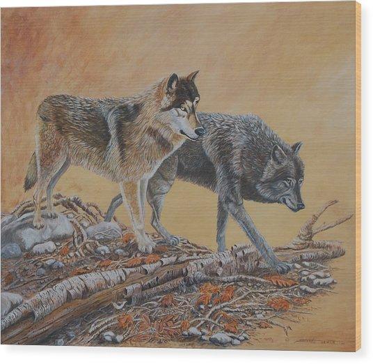 Timber Wolves Wood Print by Santo De Vita