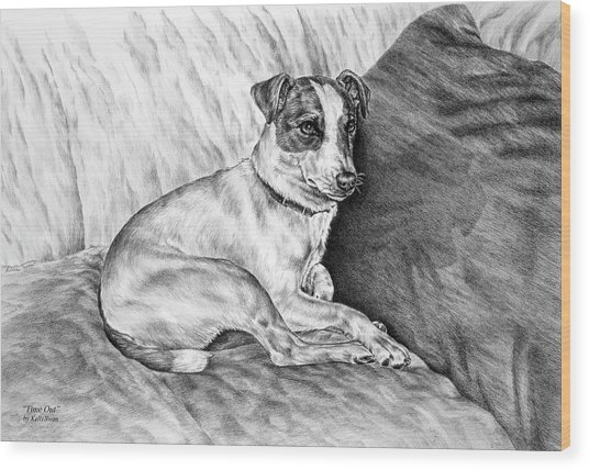 Time Out - Jack Russell Dog Print Wood Print