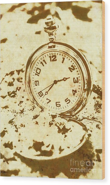 Time Worn Vintage Pocket Watch Wood Print