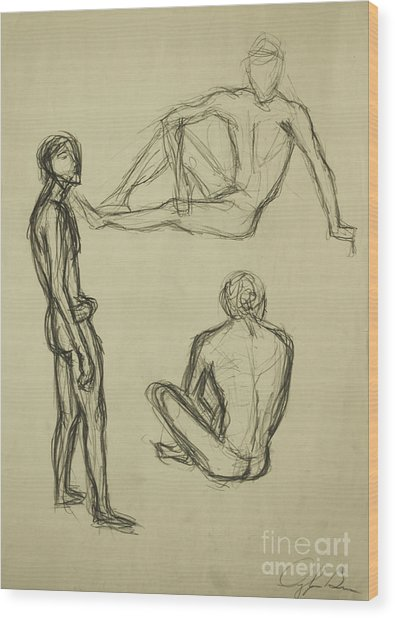Wood Print featuring the drawing Timed Gestures Exercise by Angelique Bowman
