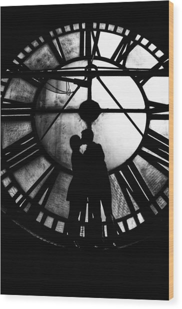 Timeless Love - Black And White Wood Print