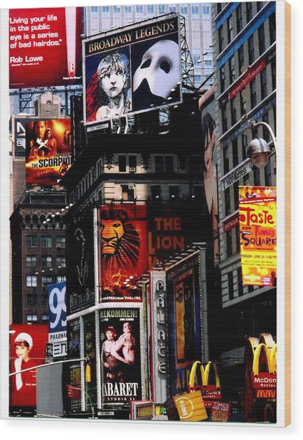 Times Sq Nyc Wood Print