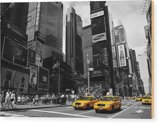 Times Square Wood Print by Mandy Wiltse