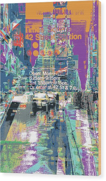 Times Square Morphine Wood Print by Shay Culligan