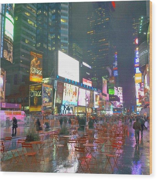 Times Square Red Rain Wood Print