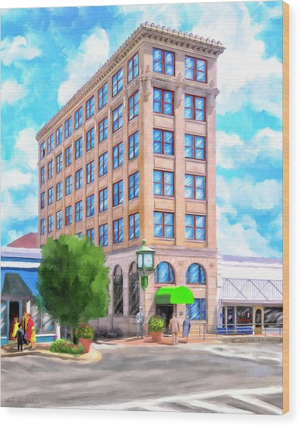 Wood Print featuring the mixed media Timmerman Building - Andalusia - First National Bank by Mark Tisdale