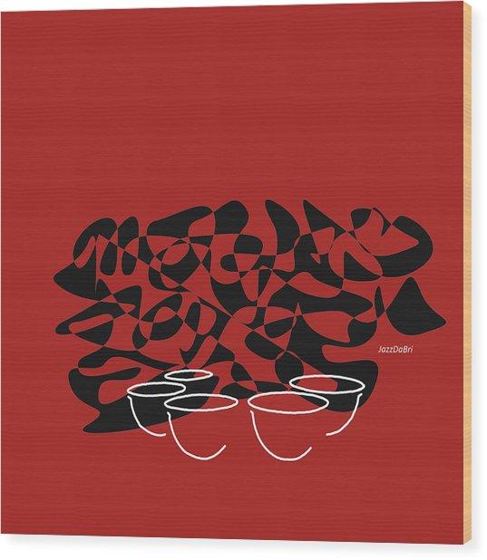 Timpani In Orange Red Wood Print