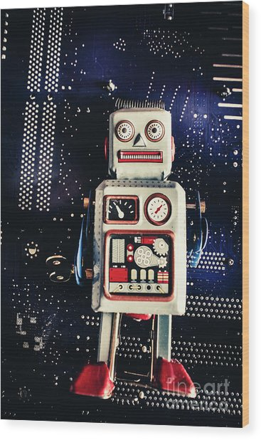 Tin Toy Robots Wood Print