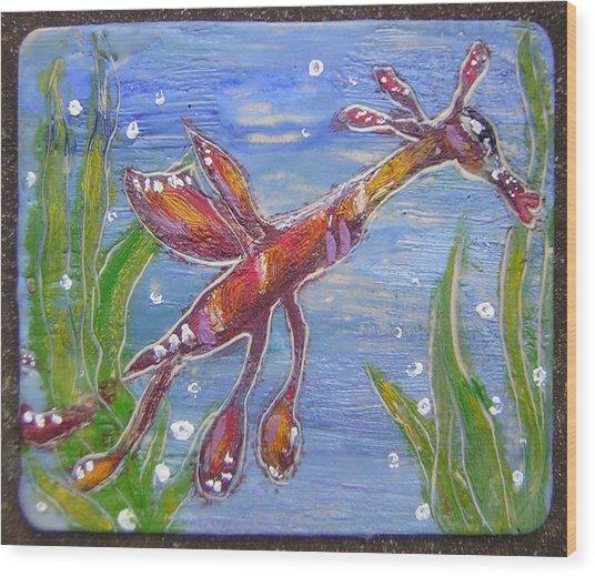 Tiny Anthropomorphic Sea Dragon 2 Wood Print by Michelley QueenofQueens