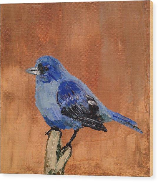 Tiny Blue Wood Print