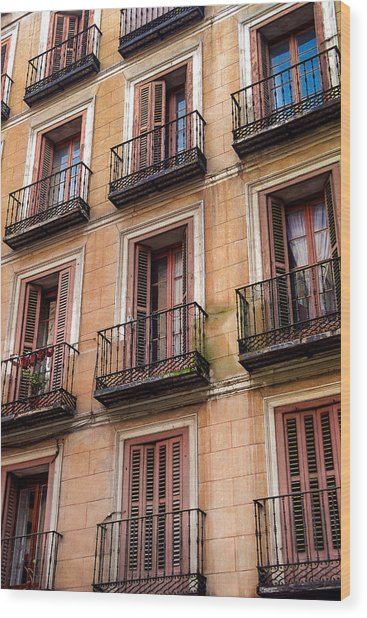 Tiny Iron Balconies Wood Print