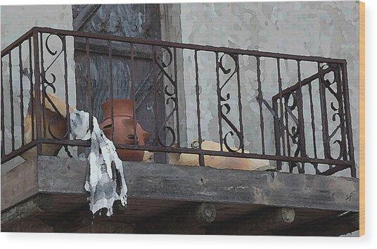 Wood Print featuring the digital art Tiny Southwest Balcony by Shelli Fitzpatrick