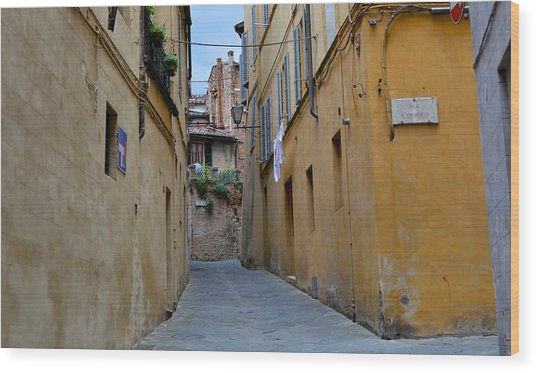 Tiny Street In Siena Wood Print