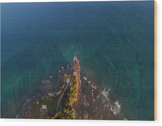 Wood Print featuring the photograph Tip Of Borneo View Point From Above, Malaysia by Pradeep Raja PRINTS