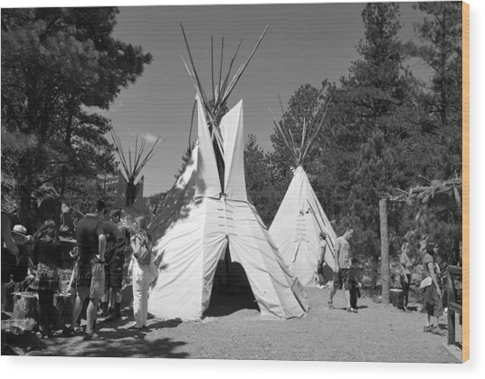Tipis In Black Hills Wood Print