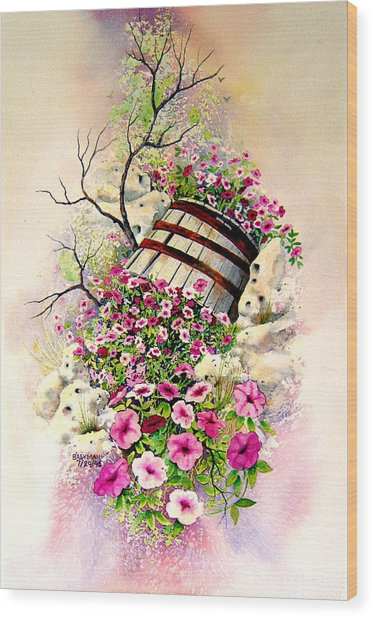 Tipsy Whiskey Barrel Wood Print by Brooke Lyman
