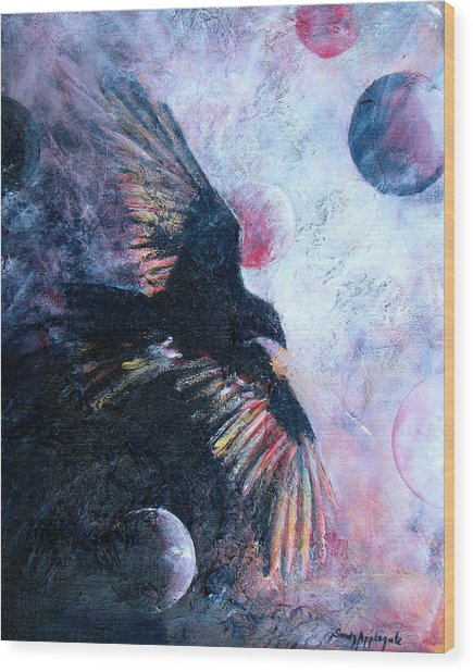 'tis The Wind Wood Print by Sandy Applegate