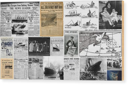 Titanic Headlines From 1912 Wood Print