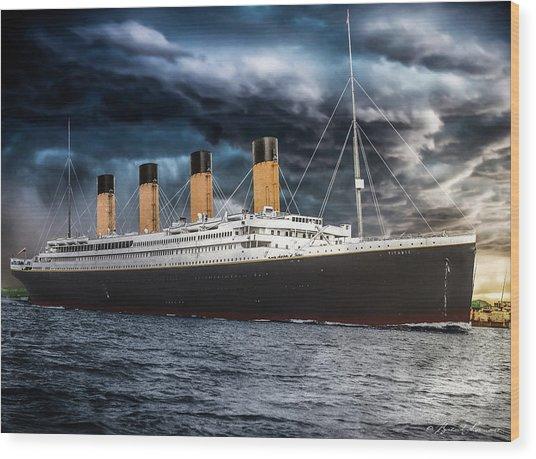 Titanic Photo Restoration Wood Print by Brent Shavnore