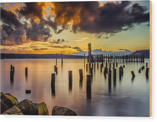 Titlow Beach Sunset Wood Print