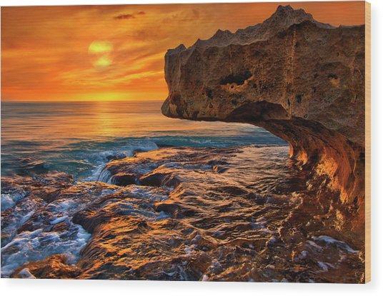 To God Be The Glory - Sunrise Over Ocean Reef Park On Singer Island Florida Wood Print
