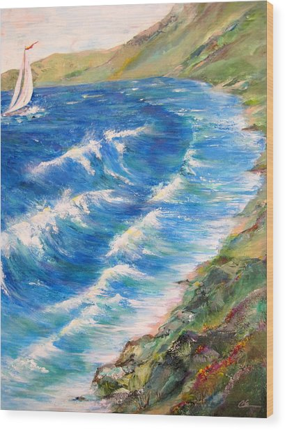 To Shore - Maui Wood Print by Cheryl Ehlers