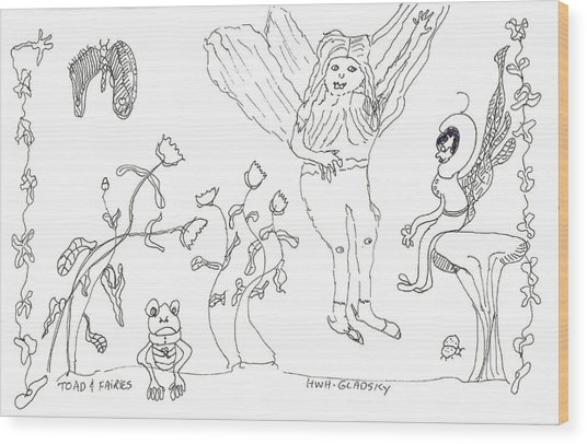 Toad And Fairies Wood Print