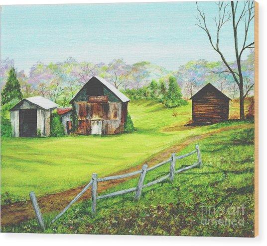 Tobacco Barns North Carolina Wood Print by Pauline Ross