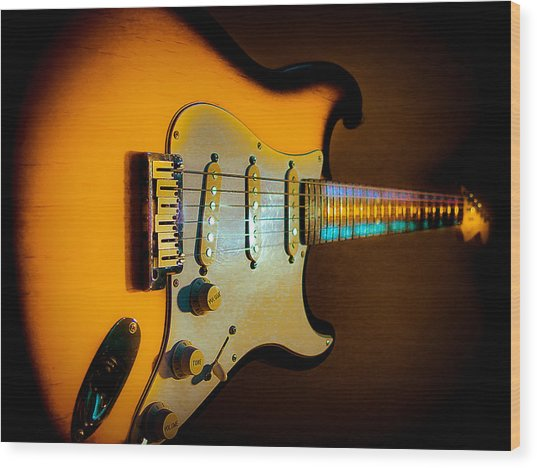 Tobacco Burst Stratocaster Glow Neck Series Wood Print