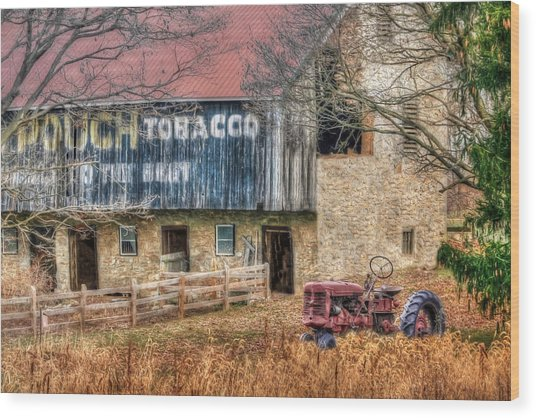 Tobacco Tractor Wood Print