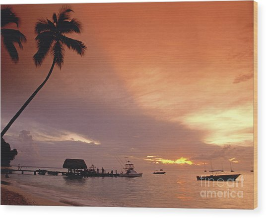 Wood Print featuring the photograph Tobago, Pigeon Point Sunset, Caribbean Sea, by Juergen Held