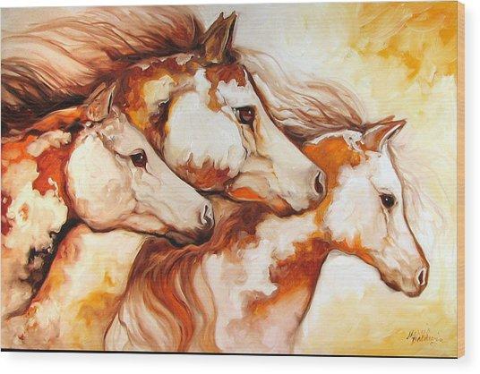 Tobiano Horse Trio Wood Print by Marcia Baldwin