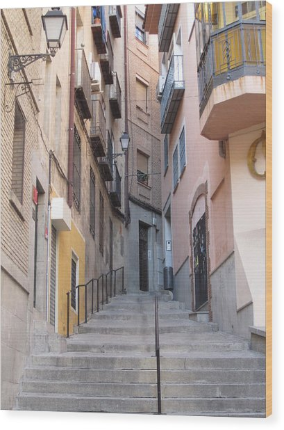 Toledo Alley Steps Wood Print