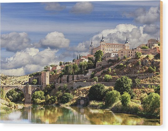 Toledo. Majestic Stone Fortress The Alcazar Is Visible From Any Part Of The City Wood Print