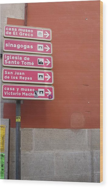 Toledo Street Sign Wood Print