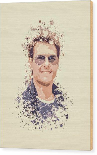 Tom Cruise Splatter Painting Wood Print