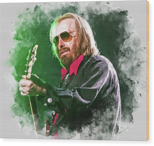 Tom Petty - 20 Wood Print by Andrea Mazzocchetti