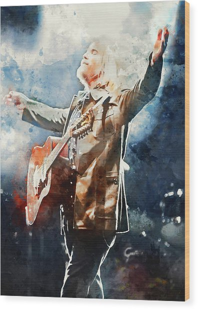 Tom Petty - Watercolor Portrait 13 Wood Print
