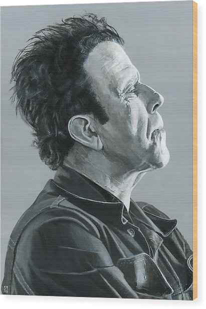 Tom Waits Wood Print