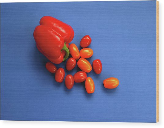 Tomatoes And Capsicum On Blue Wood Print