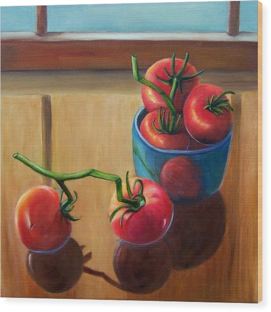 Tomatoes Fresh Off The Vine Wood Print