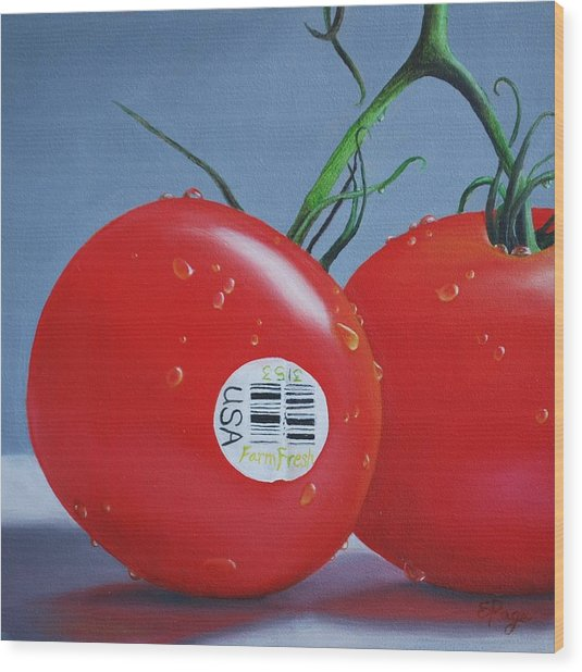Tomatoes With Sticker Wood Print