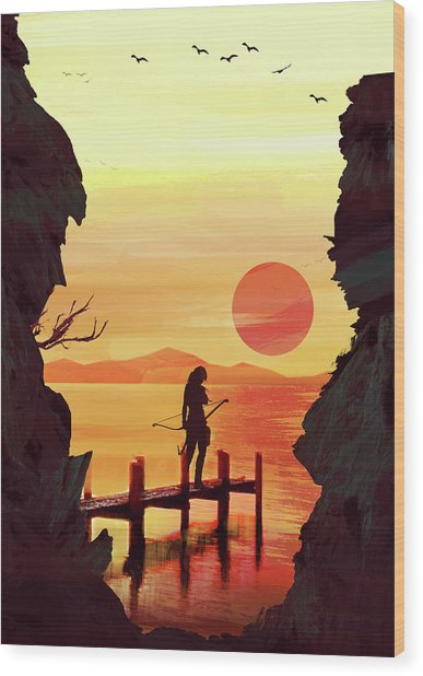 Tomb Raider Wood Print