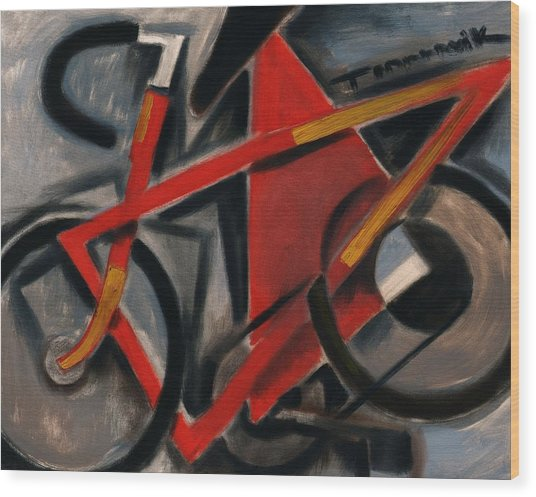 Tommervik Abstract Cubism Red Ten Speed Bike Art Print Wood Print