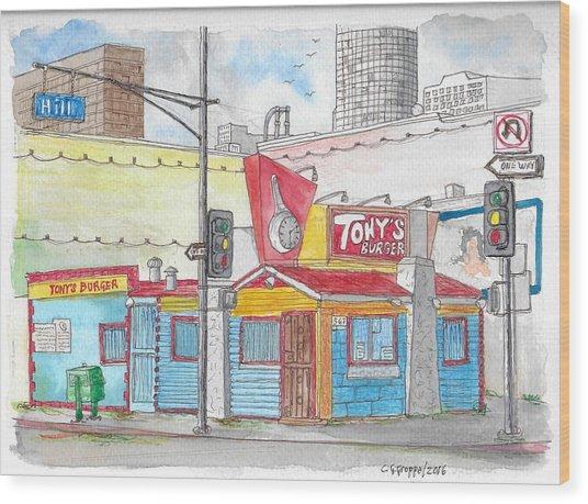 Tony Burger, Downtown Los Angeles, California Wood Print