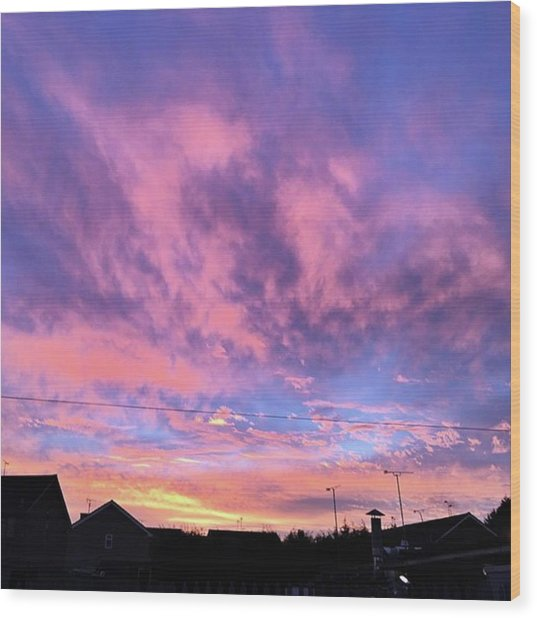 Tonight's Sunset Over Tesco :) #view Wood Print