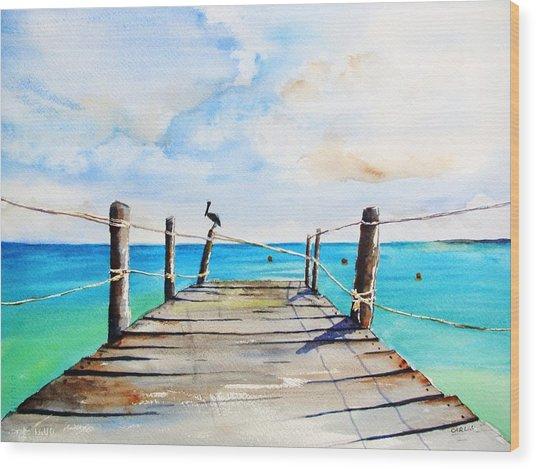Top Of Old Pier On Playa Paraiso Wood Print