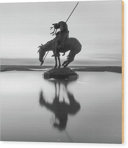 Top Of The Rock Native American Statue Silhouette Reflections Bw Wood Print