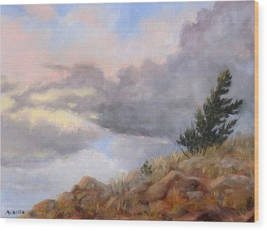 Topaz Skies Wood Print by Debra Mickelson